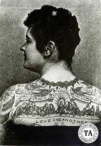 The Last Supper is often seen as a major back piece design as seen above on Emma de Burgh, a German attraction, circa 1890s