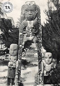 Entrance statues carved with Mokos