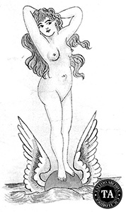 Tattoo design of an exposed lady.