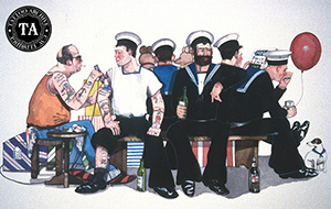 Painting of a group of sailors getting tattooed
