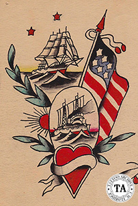 Tattoo design by Lew Alberts, shows the transition from sail to steam.